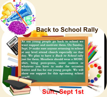 Back to School Rally Sun., Sept 1st